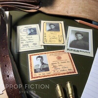 Indiana Jones - Prop Wartime Issue Identification Cards / WWI & WWII Cosplay IDs