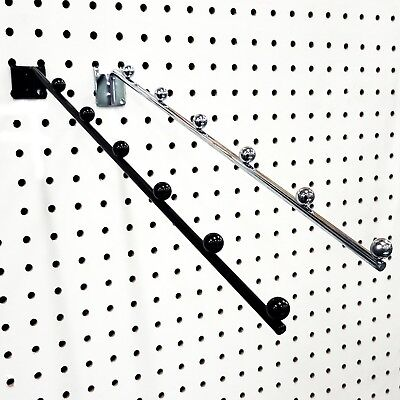 Pegboard 6 Ball Waterfall Faceout Hook, Black or Chrome, Wholesale
