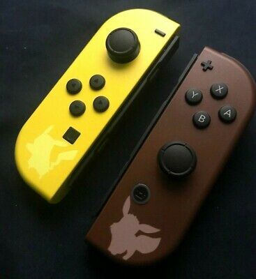 Nintendo Switch Painted Joycons Let's Go Pikachu and Eevee Themed Custom Joy Con