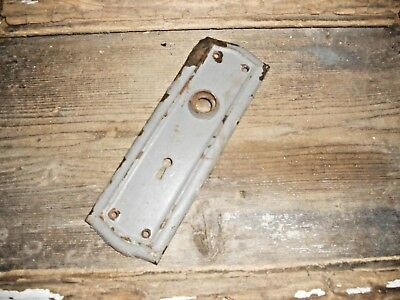 Vtg Gray Aged Shabby Chippy Mission Raised Edge Door Knob Back Plate Art/craft