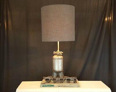 Upcycled Industrial Table Lamp with Car Part Exhaust Manifold Copper Scaffold