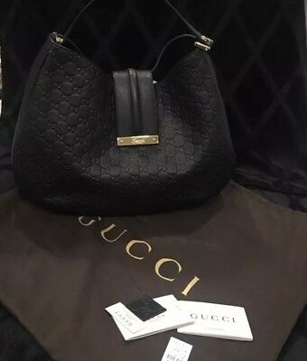 35f0f11dc Gucci Large Black Leather Guccissima Handbag GG Embossed Hobo Shoulder Tote  Bag