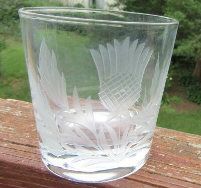 Set 4 Thistle Cut & Engraved Old Fashioned Low Ball Tumblers Glasses