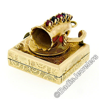 Vintage 14k Yellow Gold Coral Ruby & Sapphire Gramophone Music Box Charm Pendant