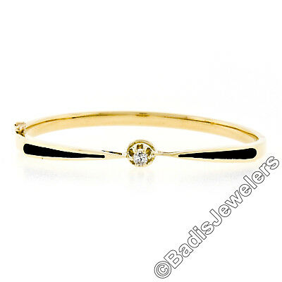 Antique 14K Gold .18ct Buttercup Prong Diamond Black Enamel Open Bangle Bracelet