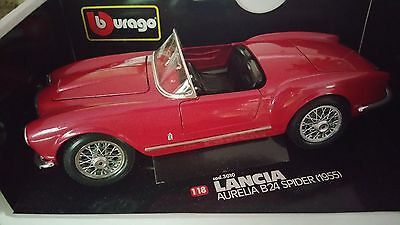 Bburago 1955 Lancia Aurelia B24 Spider Red Diecast 1:18 Scale (New In The Box!)