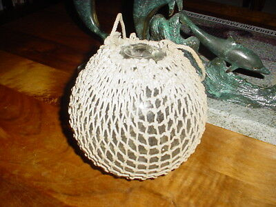 RARE Clear Glass Fishing Float with netting ~ 20 inch circumference