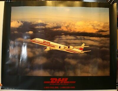 "DHL Worldwide Express Plane 23 x 30"" Promo Poster Mountains Sky"
