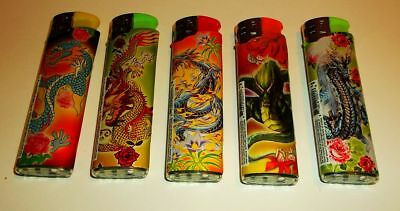 Lot Of 5 Assorted DRAGON Electronic Butane Refillable Lighters