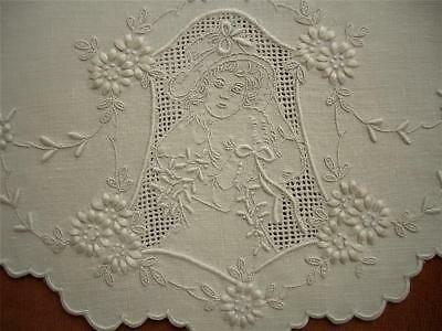 Superb Antique Vtg Floral-Figural Appenzell Hand Embroidery Centerpiece Doily