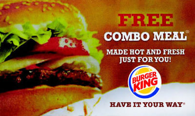 20 Burger King Combo Meal Cards