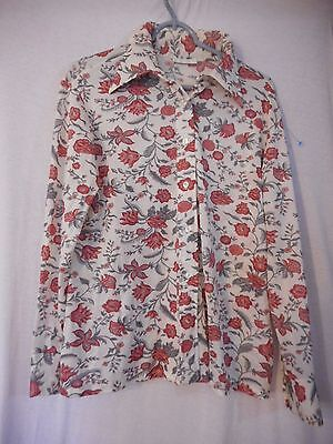 Vintage 1960s 1970s  Sz M or L Pretty Floral Top red pink grey white B -23.5