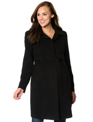 $110 Motherhood Maternity Black Winter Trench Walker Coat Women's Size Medium