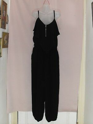 1980's Vintage Jumpsuit with Shirred Waist & Shoestring Straps.