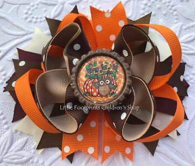 Thanksgiving Turkey Gobble til you Wobble Chevron Bottle Cap Hair Bow 4 1//2/""