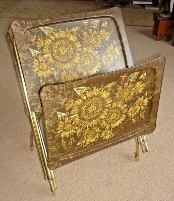 4 Vintage Metal Tv Trays W Stand Rack Holder On Wheels Folding