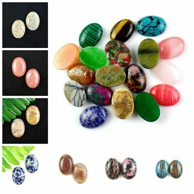 Wholesa 2Pcs 25x18mm Mixed Gemstone Oval CAB CABOCHON Please Pick Your Stone F