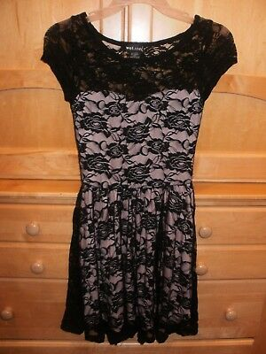 Wet Seal Black Lace Over Light Pink Lining Dress Junior Size
