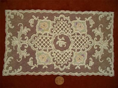 DAINTY Antique VTG PETIT POINT SCHIFFLI EMBROIDERY NET LACE DOILY PANEL