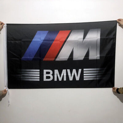 BMW-Ring Flag Banner 3x5ft Performance Car Wall Garage Black 2Grommets/130
