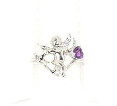 14K White Gold Angel With Amethyst Ring