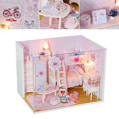 Modern Doll House Miniature DIY Kit Dollhouse LED Light Kids Gift W/ Furniture