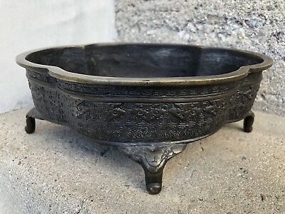 Chinese Bonsai Planter Bronze Qing Old Ca Estate Marked Rare Shape Antique