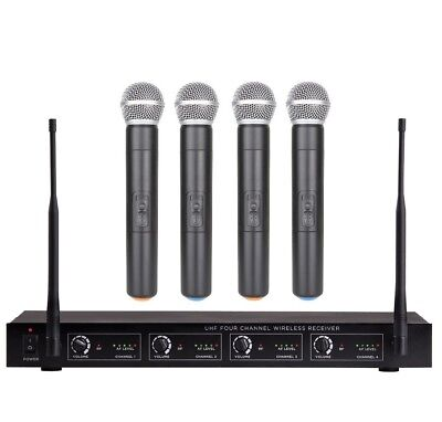 4 Microphone Wireless System UHF Professional Cordless mic Set 4 Handheld mics