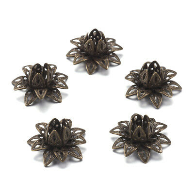 10pcs Antique Bronze Brass Big Lotus Flower Bead Caps Cabochon Bezel Blanks 16mm