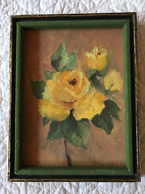 VINTAGE rose floral flower original hand painted oil PAINTING by Hauck yellow