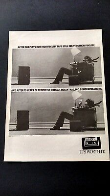 Maxell High Fidelity Tape It's Worth It. Rare Original Print Promo Poster Ad