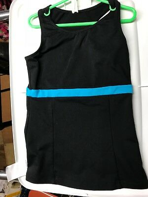 Chloe Noel ice figure skating shirt top sleeveless CM match pants turquoise EUC
