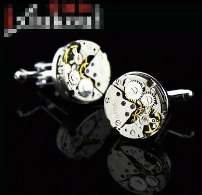 Mens Wedding Party Jewelry Gift Stainless Steel Mechanical Watch Core Cufflinks
