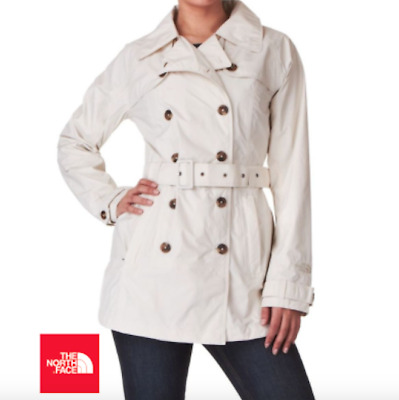 $150 The North Face Ivory Maya Jacket Faux Double Breasted Trench EUC Size Large