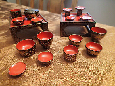 Miniature Red and Black Lacquer Japanese Tea set