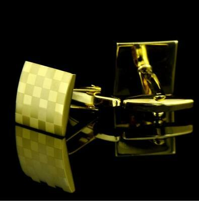 Mens Wedding Party Jewelry Gift Stainless Steel Golden Square Cufflinks