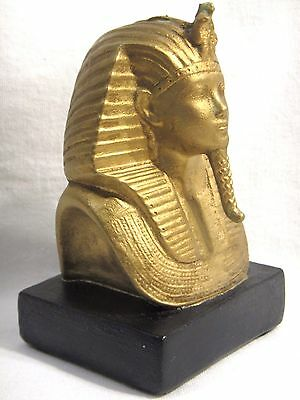 "Ancient Egyptian King Pharaoh Tut Wood Figurine Bust Statue 5.5"" Gold Black 1lb"