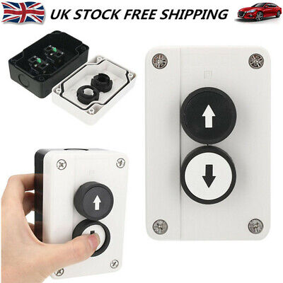 Rolling Door Up Down Stop 2 Buttons Housing Push Button Switch Black Plastic