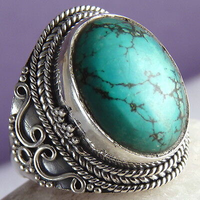 Gemstone STATEMENT Size US 6 SILVERSARI Ring Solid 925 Stg Silver + TURQUOISE