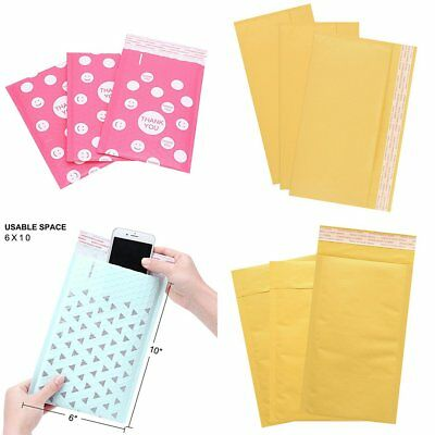 Lots Poly Bubble Padded Mailers Kraft Envelopes Shipping Bags Self Seal Colored