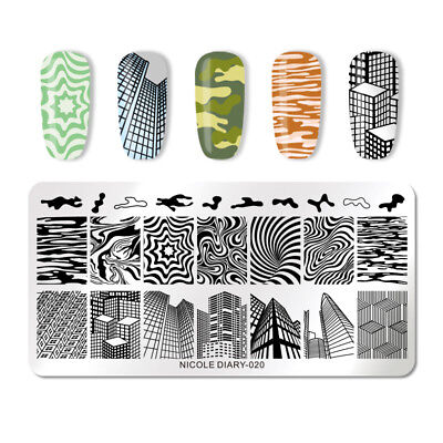 NICOLE DIARY Nail Stamping Plates Stainless Steel City RIpple Nail Art ND-020