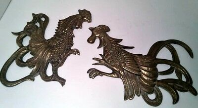 Vintage KOREA 1950s Distressed Brass Tone Mid Century Fighting Roosters Decor