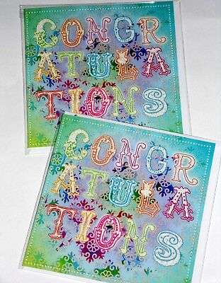 CONGRATULATIONS CARDS JUST 25p x 12   'TWICE AS NICE' WRAPPED, FOILED, (CL47