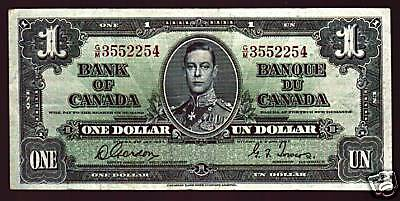 Canada 1 Dollar P58 D 1937 King George Vi Scarce Bank Note Canadian Money