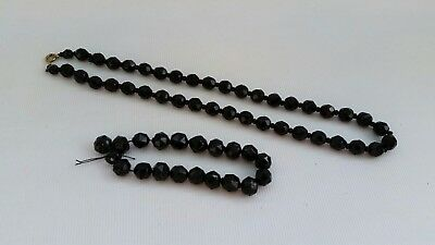 Vtg Victorian French Jet Choker Faceted Glass Bead Mourning Necklace & Bracelet