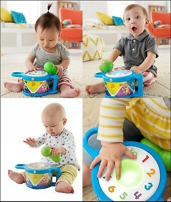 Fisher-Price Laugh & Learn TAP & TEACH DRUM Fun Baby Toy w/ Lights Sounds Music
