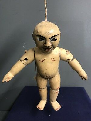 Old Hand Carved Antique Burmese Mayanmar Marionette Puppet