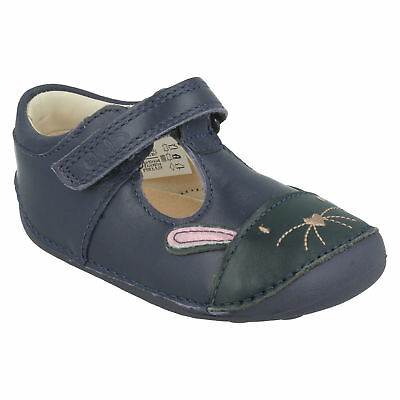 Clarks Girls Little Bunny Leather Casual Pre Walking T Bar First Baby Shoes