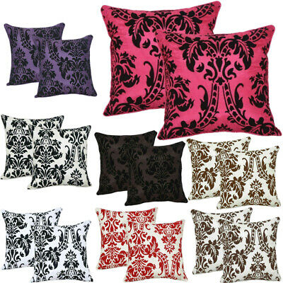 "Luxury English Damask Flock Cushion Covers 18""X18"" Piping Uk Seller"