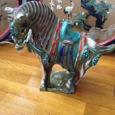 Vintage Chinese Tang Dynasty Style Ceramic Warrior Horse Figurine